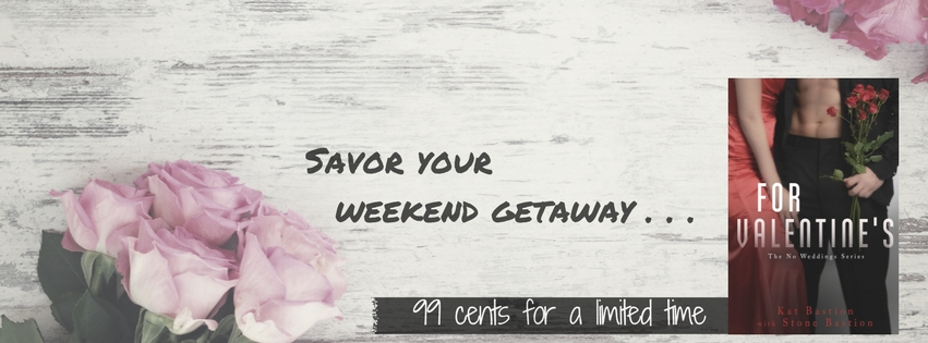 """Savor your weekend getaway..."" on a banner with pink and red roses"