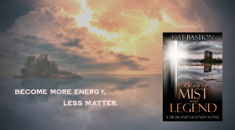 Become More Energy, Less Matter quote on pic with orange lightning over ocean with island