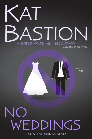 No Weddings Cover with Wedding Dress Tux and Purple Null Symbol over them