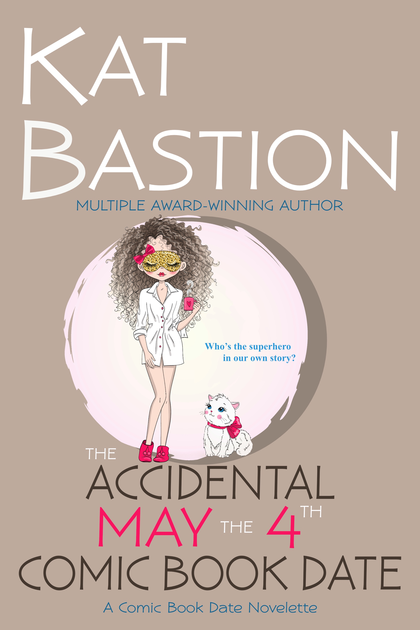Cover for The Accidental May the 4th Comic Book Date, girl in face mask and white cat, both with pink bow